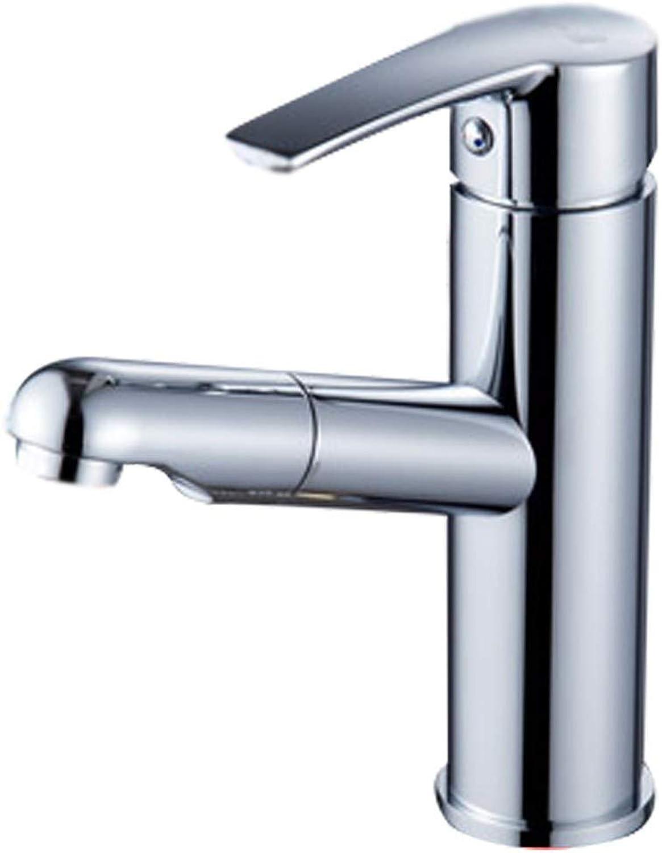 MWPO Badzubehr, einfach zu bedienen und benutzerfreundlich Wasserhahn, alle Kupfer Krper Pull Typ heien und kalten Wasserhahn Einlochmontage Waschbecken Wasserhahn einziehbar