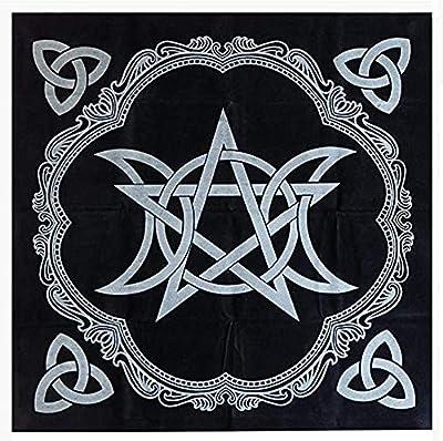 IXIGER Tarot Tablecloth - Pentacle Tarot Table Cloth Black 49x49cm,Table Cover Decoration, Triple Moon Pentagram Altar Cloth Five-Pointed Star Altar Tarot Decor Astrology Tapestry Blanket (Black)