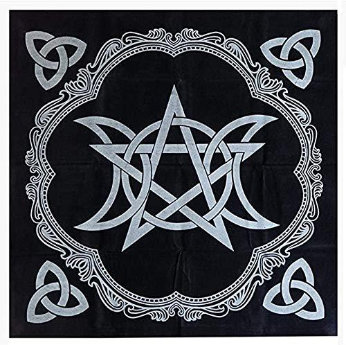 IXIGER Tarot-Tischdecke – Pentagramm-Tischdecke schwarz 49 x 49 cm, Tischdecken-Dekoration, Dreifachmond, Pentagramm, Altartuch, fünfzackiger Stern, Altar, Tarot-Dekoration (schwarz)