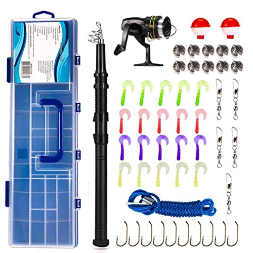 Hainice Accesorios de Pesca Kit Spinning Reel Combo Conjunto con Bolsas de caña de Pescar telescópicas de Carbono Línea de señuelos