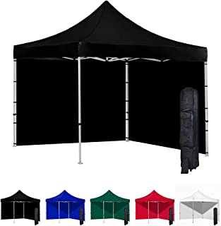 Vispronet 10x10 Pop Up Canopy Tent and 2 Side Walls – Commercial Grade Steel Frame with Flame Retardant and Water-Resistant Canopy Top and Sidewalls – Wheeled Canopy Bag and Stake Kit Included (Black)