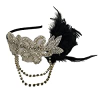 Tinksky Retro Black Feather Headpiece Flapper Chain Flower Hairband Great Gatsby Headband 1920s for Fancy Dress Party Dress-up Accessories - Wedding Mother's Day Valentine's Day gift