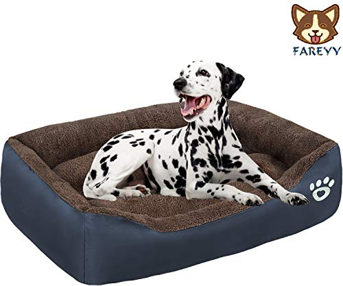 FAREYY Dog Bed - Pet Beds for Small, Medium, Large Dogs with Washable Cover, Soft Cotton-Padded Puppy Beds with Non-Skid Bottom, Couch Cat Bed for Comfy Sleeping (XXL - 35.4'' x 27.6'', Navy Blue)