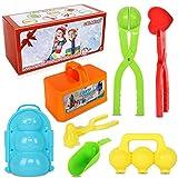 CWLAKON 7 Pcs Snow Toys Kit, Snowball Maker Tools, Snow Brick Block Maker, Snowman, Penguin Mold, Large Love Heart Snow Ball Clip for Kids Adults Snow Ball Fights, Winter Outdoor Games Activities