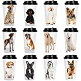 Youngever 72 Sets Disposable Coffee Cups with Lids, To Go Hot Coffee Cups, Durable Paper Cups with Lids, Dog Puppy Theme Design
