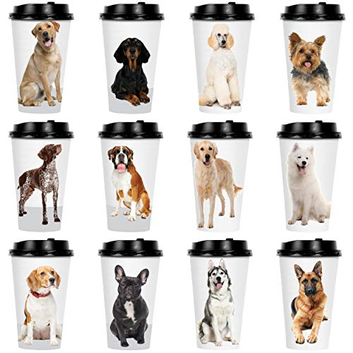 Youngever 72 Sets Disposable Coffee Cups with Lids To Go Hot Coffee Cups Durable Paper Cups with Lids Dog Puppy Theme Design