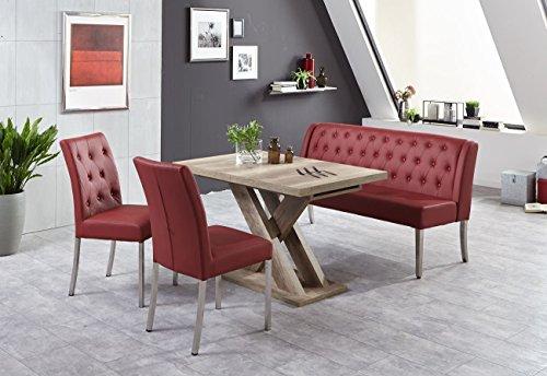Moderne Bankgruppe / Essgruppe Bordeaux, 1 Bank 2 Stühle, Gestelle Edelstahl gebürstet plus 1 Wangentisch, Wildeiche Dekor, Sitz und Rücken Kunstleder Farbe bordeaux, mit Komfortfederung
