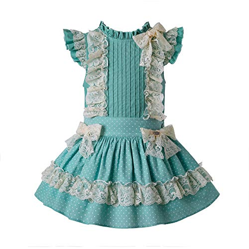 Ju petitpop Lajinirr Vestido de Verano de Menta para niñas,6 años