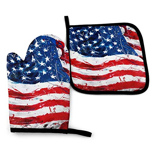 VGFJHNDF Us Flag Oven Mitts and Pot Holders,Resistant Hot Pads with Polyester Non-Slip BBQ Gloves for Kitchen,Cooking,Baking,Grilling