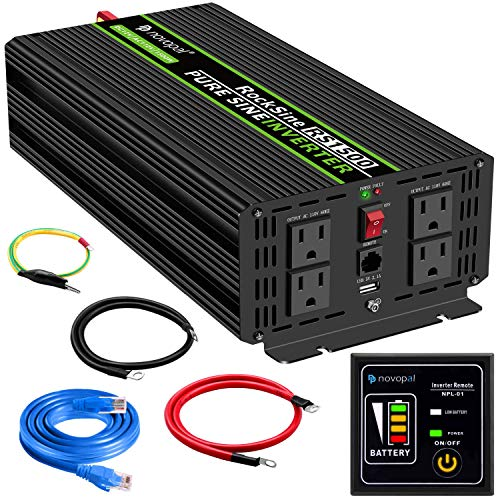 Novopal Power Inverter Pure Sine Wave-1500 Watt 12V DC to 110V/120V AC Converter- 4 AC Outlets Car Inverter with One USB Port-16.4Ft Remote Control and Two Cooling Fans-Peak Power 3000 Watt