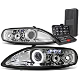 Pair of Chrome Housing LED DRL Halo Rim Projector Headlights Lamps with Tool Set Compatible with SC300 SC400 Z30 92-00