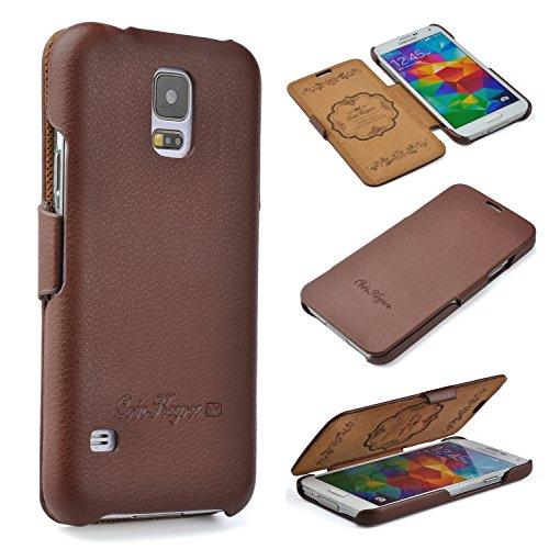 CoinKeeper Samsung Galaxy S5 / S5 NEO Hülle - ECHT Leder - HANDGEFERTIGT - Idealer Schutz für Ihr Smartphone - Flip Hülle Etui Book Cover - Handyhülle in BRAUN