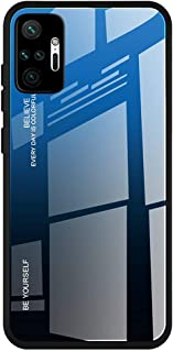 For Xiaomi Redmi Note 10 Pro / Redmi Note 10 Pro Max Case marble pattern tempered glass Back Cover (Blue)