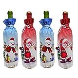 Artibetter 4pcs Weihnachtsweinflaschen-Abdeckungsbeutel Sankt-Schneemannweinflaschendekorationen -