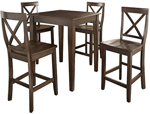 Crosley Furniture 5-Piece Pub Set with Tapered Leg Table and X-Back Stools - Vintage Mahogany