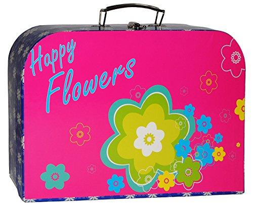 alles-meine.de GmbH Kinderkoffer -  Bunte Blumen / Flowers - pink & türkis blau  - Groß - Puppenkoffer Koffer - Reisekoffer aus Pappe mit Metall Griff - für Kinder Mädchen - Ge..
