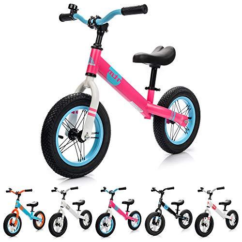 Bici Senza Pedali Bicicletta Equilibrio Bambino Balance Bike Prima - Bicicletta per Bambini 2-6 Anni - carico massimo 30 kg - ruota 12 Pollici Baby Walkers Giocattoli per Ragazzi (bambini, rosa/blu)