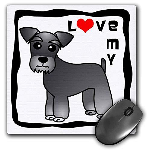 Mauspad Ich Liebe Meinen Zwergschnauzer Hund gebändert Mantel Salz und Pfeffer rotes Herz