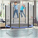 Trampoline with Enclosure, Mosunx Indoor Outdoor Trampoline with Enclosure Net Jumping Mat Spring Pad, 442lbs Capacity, for Kids Boys Girls 3-12 Years Old (Blue - Sliver, 6Ft)