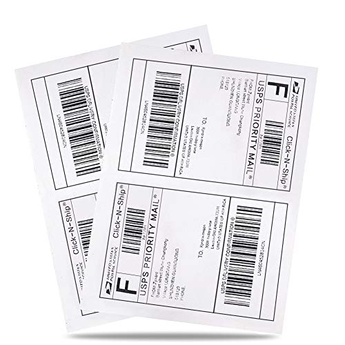"""BESTEASY 200 Half Sheet Self Adhesive Shipping Labels, Laser/Ink Jet White Blank Shipping Labels 8.5"""" x 5.5"""" Address Labels (100 Sheet Total 200 Labels)"""