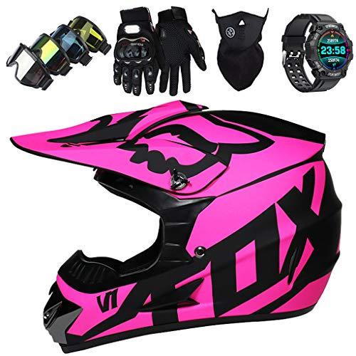 Motocross Helm für Kind 5~14 Jahre, Unisex Full Face Motorradhelm mit Fox Design für Dirt Bike Downhill Enduro MTB Quad BMX Fahrrad (Brille Maske Handschuhe Smart Watch) - Matte Lila,M