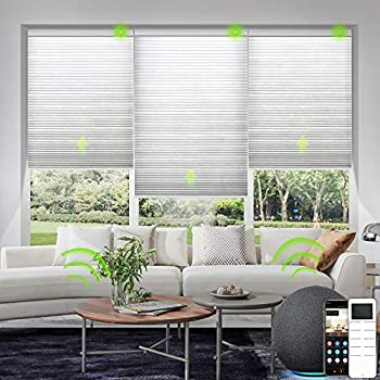 Yoolax Motorized Venetian Blinds Work with Alexa Light Filtering Sheer Smart Window Blinds Customized Size Blackout Aluminum Electric Horizontal Blinds with Remote Control for Home Office  Silver