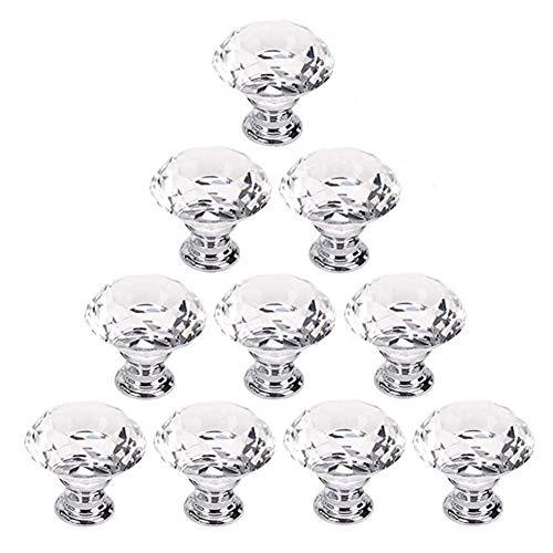 10 Uds, Tiradores de cajón de 30mm, tiradores transparentes con forma de diamante, tiradores de armario para muebles, para puerta, tocador, armario, armario
