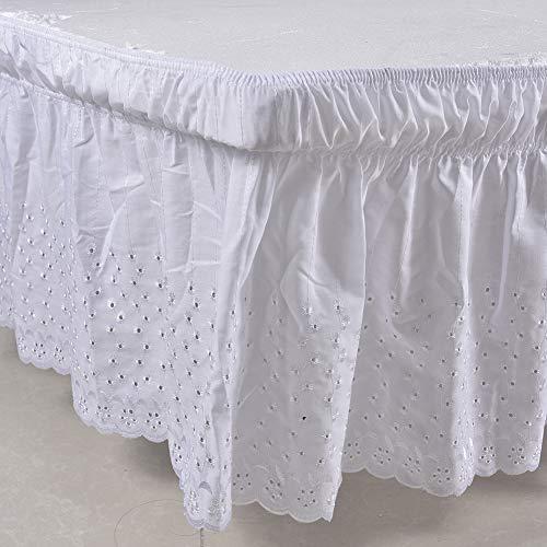 Mantovana giroletto, increspata, a tinta unita, elastica, ideale per avvolgere il letto, misura della balza 38,1cm, per un letto da 200x 150cm White