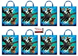 8 Pack How to Train Your Dragon Large Plastic Goodie Tote Loot Bags, 13 x 11 Inches (Plus Party Planning Checklist by Mikes Super Store)