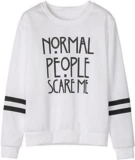 Elogoog Women's Double Stripes Long Sleeve Letter Blouse Casual Loose Sweatshirt Pullovers