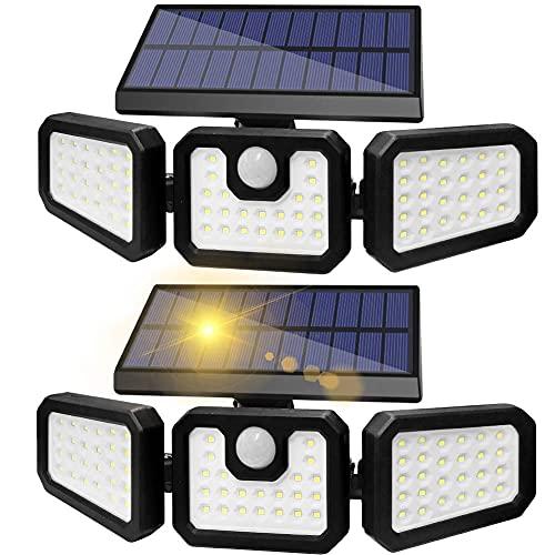 Solar Motion Lights Outdoor, ZHUPIG Solar Flood Lights Outdoor Motion Sensor, IP65 Waterproof, 270° Wide Illumination, 3 Adjustable Heads Solar Security Lights for Garage Porch Yard Garden (2 Pack)