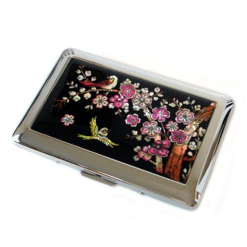 Perlmutt Zigarettenetui Blumen Blüte Zigarettendose Tabakdose Zigaretten Asiatisch