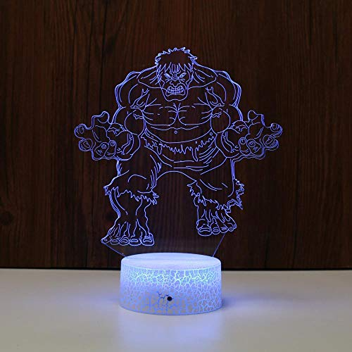 Hulk Acrylic 3D Night Lights USB Led Table Lamp Touch Control Home 3D Table Lamp 7 Color Changing Decor Night Light Gifts