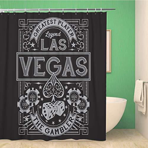 Awowee Duschvorhang Ace Vintage Gamble Casino Las Vegas Tee Grafiken Spaten 180 x 200 cm Polyestergewebe Wasserdicht Badvorhänge Set mit Haken für Badezimmer