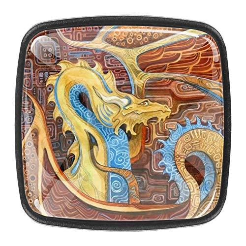 Klimts Drachen Kommode Schubladen Ziehknöpfe Schrankknöpfe Dekorative Möbelknöpfe Schränke quadratische Knöpfe (4 Stück)