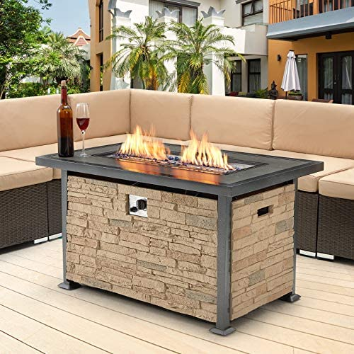 U MAX Outdoor Propane Gas Fire Pit Table 44 Inch 50 000 BTU Gas Auto Ignition Rectangle Firepit product image