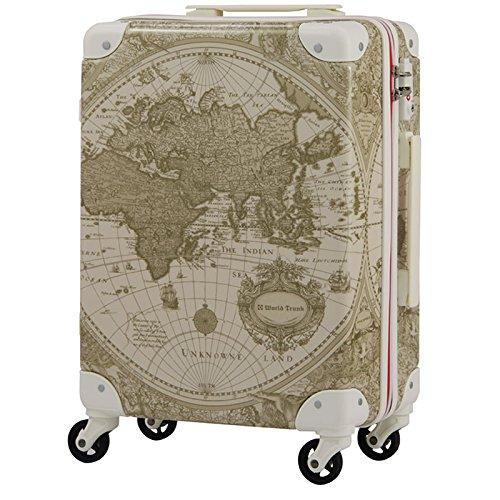トランクケース 国内線機内持込可 | LEGEND WALKER (レジェンドウォーカー) Renaissance (ルネサンス) 7500-46 ファスナー/ジッパー (ベージュ地図柄)