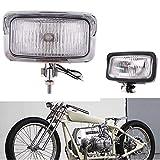 Universal Retro Motorcycle Headlight Rectangle Front Head Lamp For Cafe Racer Bobber Honda Suzuki (Chrome)