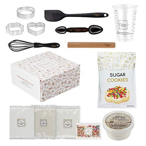 DIY Baking Kit - Baking Set & Supplies for Adults & Teens - Sugar Cookie Mix & Icing Mix, Rolling Pin, Spatula, Cookie Cutter, Pan, & Measuring Tools