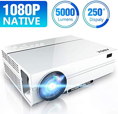 Full HD Projector 1080P Native, ABOX 1920 x 1080P Movie Projector, 5000...
