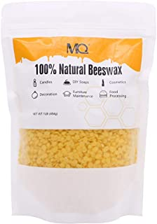 MQ Organic Beeswax Pellets Premium Natural Pure Bees Wax - No Toxic Pesticides or Chemicals - Cosmetic Grade Triple Filtered Beeswax For DIY Candles/Lip Balm/Skin Care - 445g/1b (Yellow)