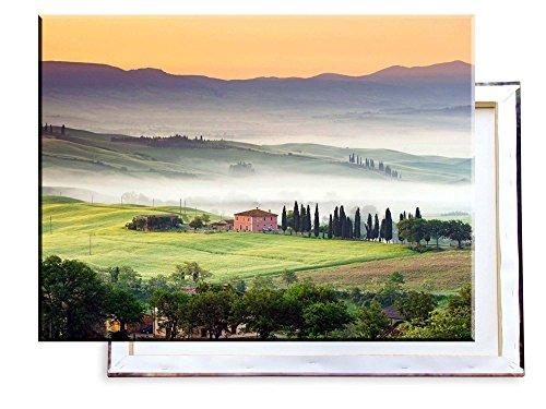 Preisvergleich Produktbild Unified Distribution Toscana Italien Mediterane Landschaft - 80x60 cm - Bilder & Kunstdrucke fertig auf Leinwand aufgespannt und in erstklassiger Druckqualität