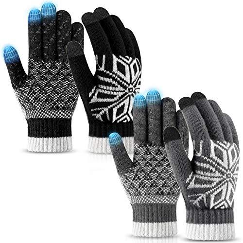 Winterhandschuhe für Damen und Herren, Touchscreen-Handschuhe, warme Strickwolle, rutschfest
