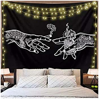 Zswdcsbmd White Black Cigarette hand Mandala Tapestry Wall Hanging Celestial Wall Tapestry Hippie Wall Carpets Dorm Decor Psychedelic With Star Lights 59.05 x39.37 Inch 150x100 Cm