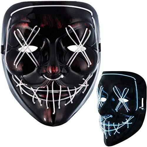 LED Grusel Maske wie aus Purge für Halloween Kostüm Horror Party Verkleidung