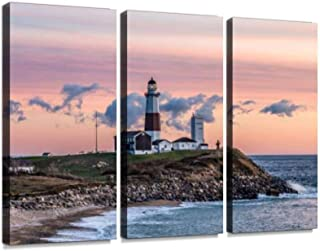 YKing1 Montauk Point Light, Lighthouse, Long Island, New York, Suffolk Wall Art Painting Pictures Print On Canvas Stretched & Framed Artworks Modern Hanging Posters Home Decor 3PANEL