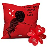 Indigifts Love You Cushion Cover with Filler, 12x12 Inches, Red, 1Pc