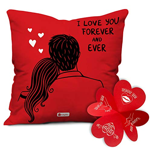 Indigifts Valentine Day Gift I Love You Forever Quote Red Cushion Cover 12x12 inches with Filler - Valentine Gifts for Girlfriend Boyfriend, Birthday Gift for Husband Wife, Love Gifts