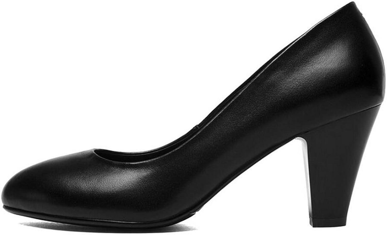 Damen Schuhe CJC Schuh-Weibliches schwarzes hochhackiges Interview Beschuht Lederne Flugbegleiter-Berufsschuhe (Farbe   7CM, Gre   EU37 UK4.5-5)
