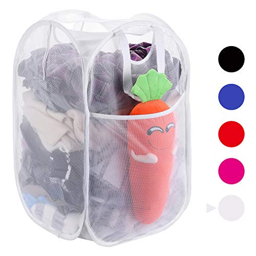 2 Pcs Laundry Hamper Easy Open Mesh Foldable Clothes Basket for Outdoor Camping